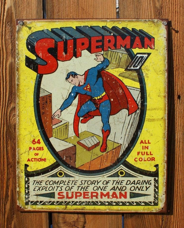 Free Comic Book Day Locations: Superman Tin Sign DC Comic Book Classic Vintage Style