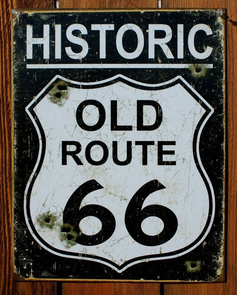 Historic Old Route Tin Sign Garage Hot Rod Road Highway Sign Car - Rt 66 car show