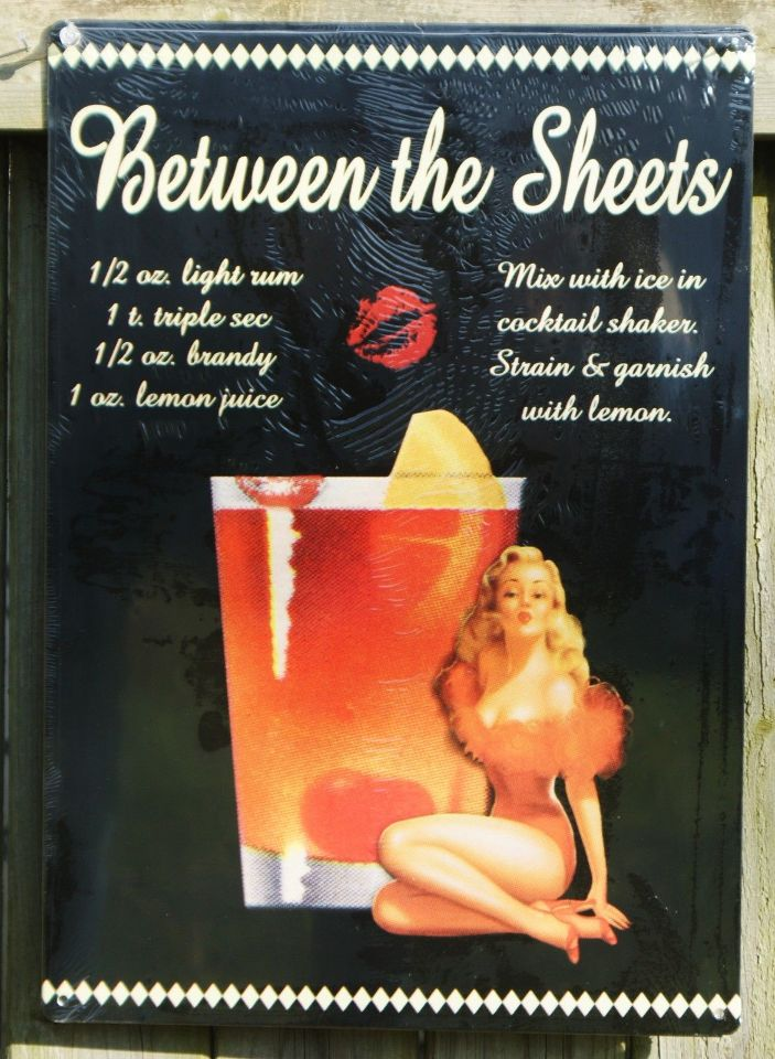 Between The Sheets Mix Drink Tin Sign Bar Garage Pin Up Girl Man Cave Alcohol