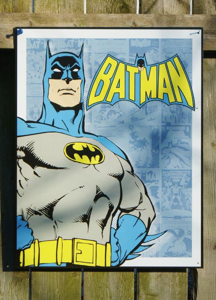 Retro Batman Sign Metal Batman Sign Superhero Sign Justice League DC Comics