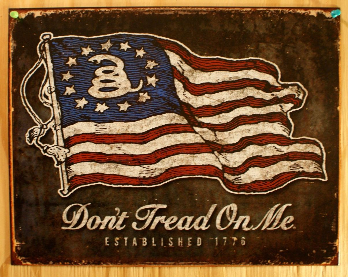 Dont Tread On Me Tin Sign 1776 America Tea Party Americana USA American Flag D111