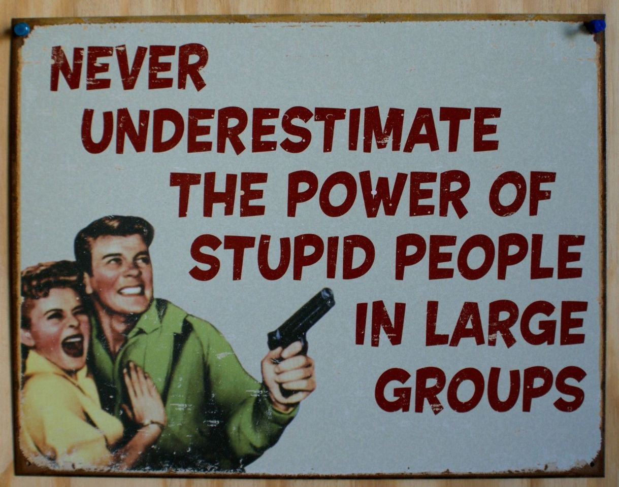 Never Underestimate The Power Of Stupid Tin Sign Office Work Cubical Zombie 12a