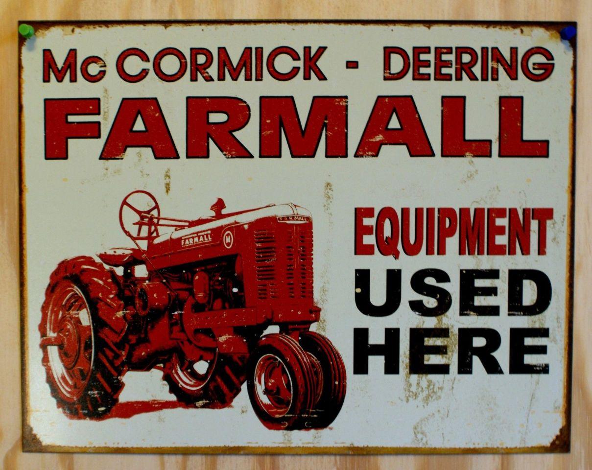 McCormick Deering Farmall Tin Sign Farm Tractor International Harvester IH
