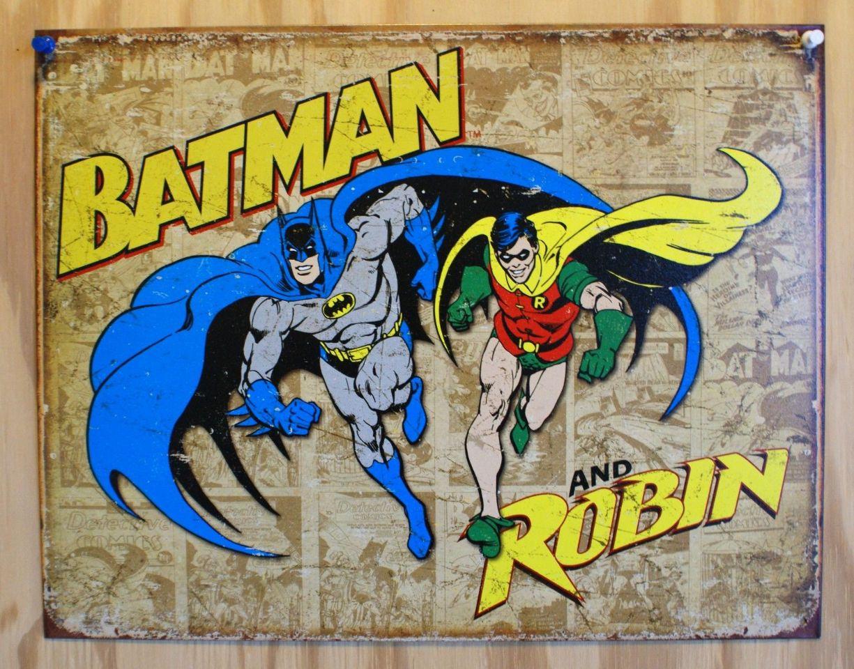 Batman And Robin Tin Sign DC Marvel Comics Comic Book Dark Knight Joker D54