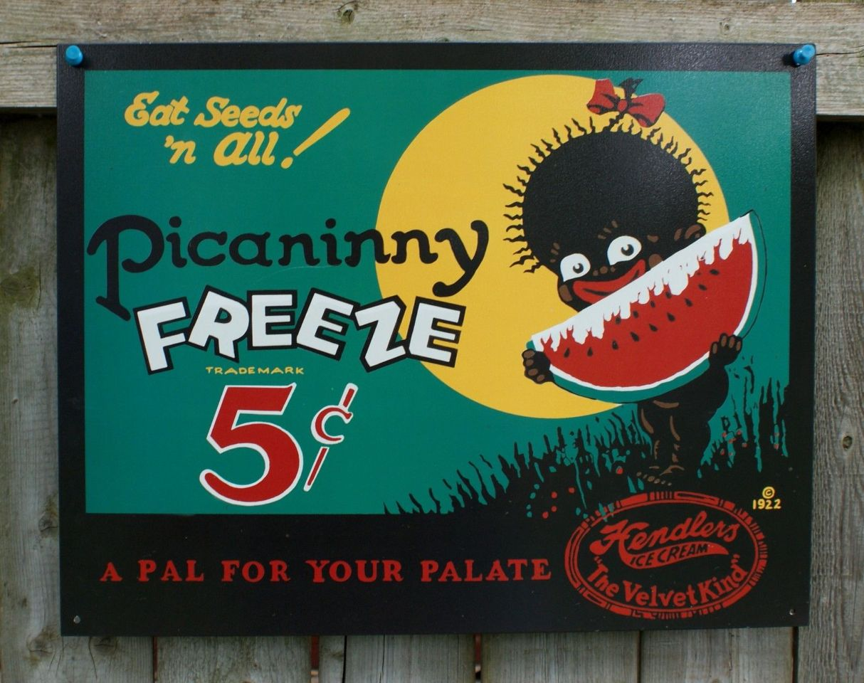 Picaninny Freeze Ad Tin Sign Black Americana Watermelon Home Country ...