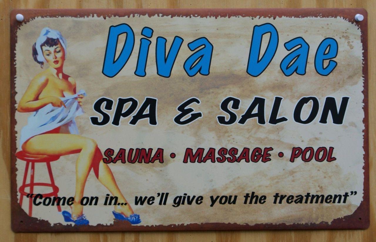 Diva Dae Salon Laundry Bathroom Tin Metal Sign Pin Up Girl