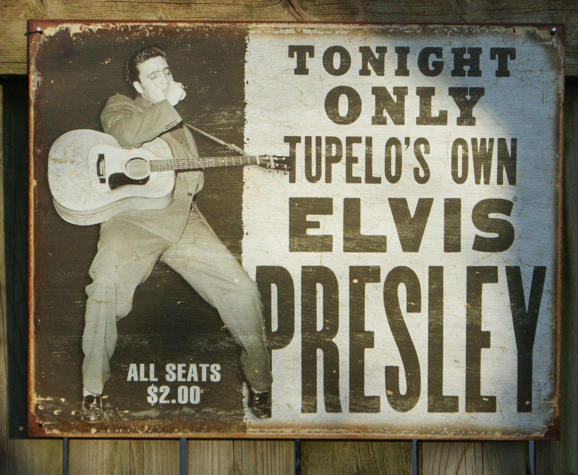 Elvis Presley Concert Hand Bill Tin Sign Music Man Cave Garage Guitar Stars