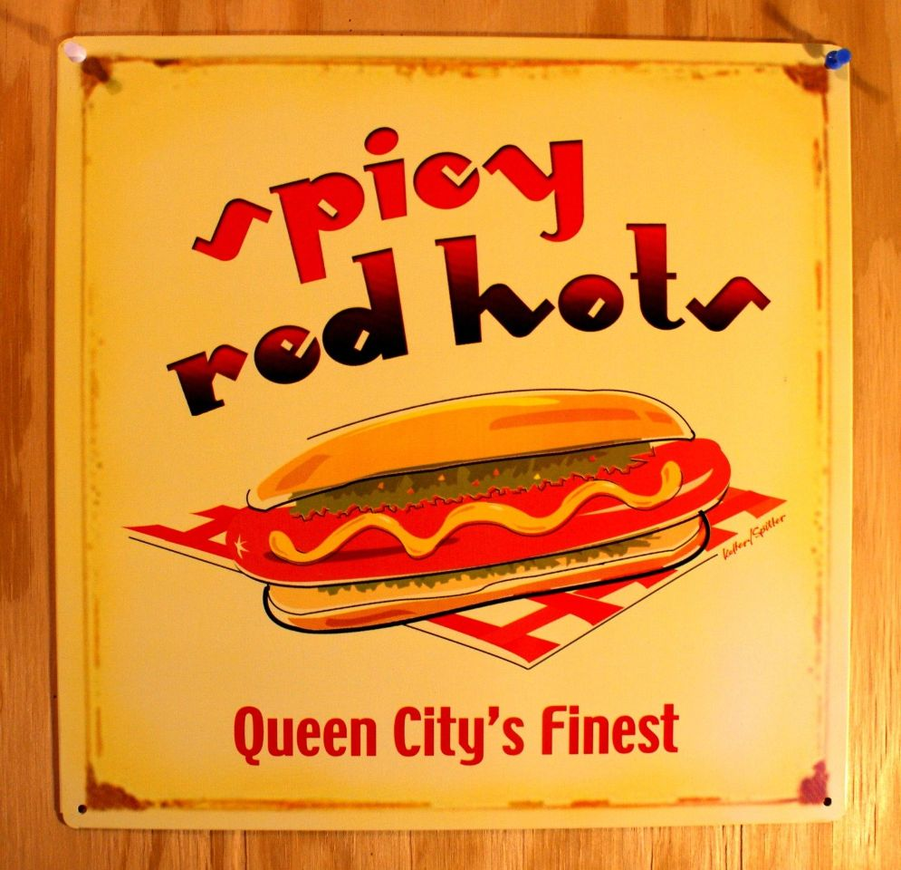 Spicy Red Hots Hot Dog Queen City's Finest restaurant diner Tin Metal Sign  D65