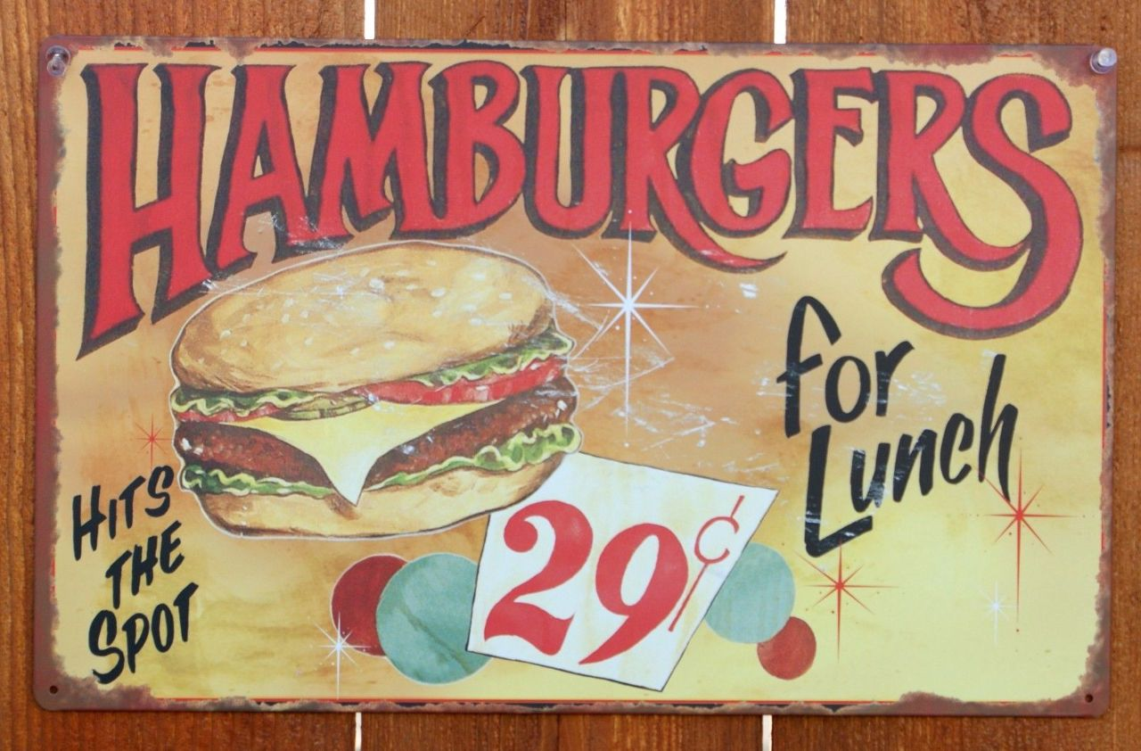 Superieur Hamburgers Hit The Spot Tin Metal Sign Hamburger Kitchen Restaurant Food  C112 | The Wild Robot!