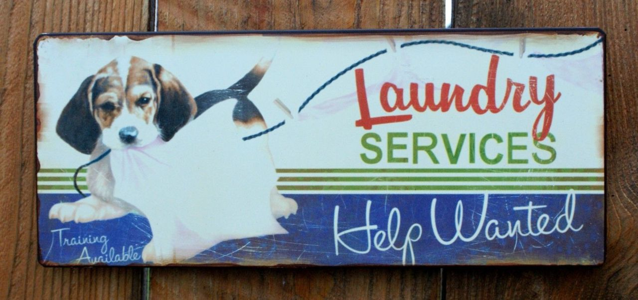 Laundry Services Help Wanted Beagle Tin Sign Country Home
