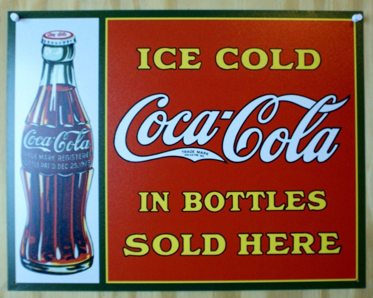 Ice Cold Coca Cola Tin Metal Sign Red & Green Classic Soda Pop Kitchen Decor B27