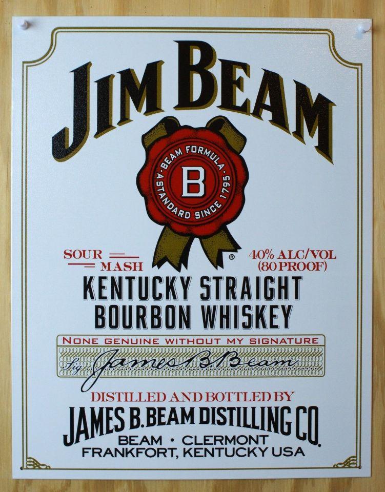 Jim Beam Tin Metal Sign White Label Louisville Kentucky Bourbon Whiskey Bar B29