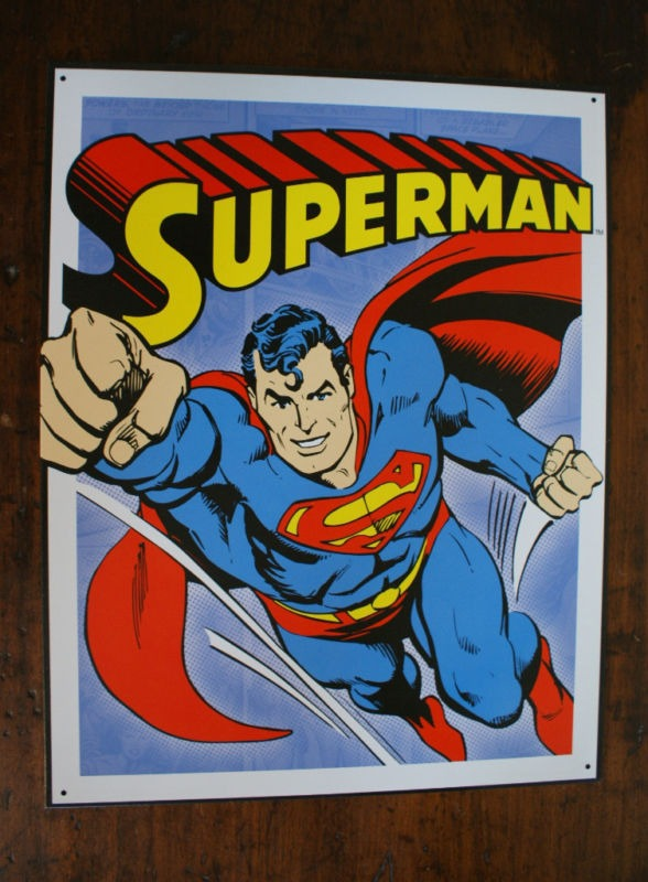 Superman Tin Metal Sign DC Comics Comic Books Flying Clark Kent Man of Steel
