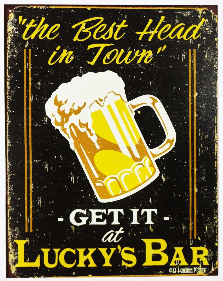 Best Head In Town Luckys Bar Tin Sign Beer College Frat Garage Humor Tavern Brew