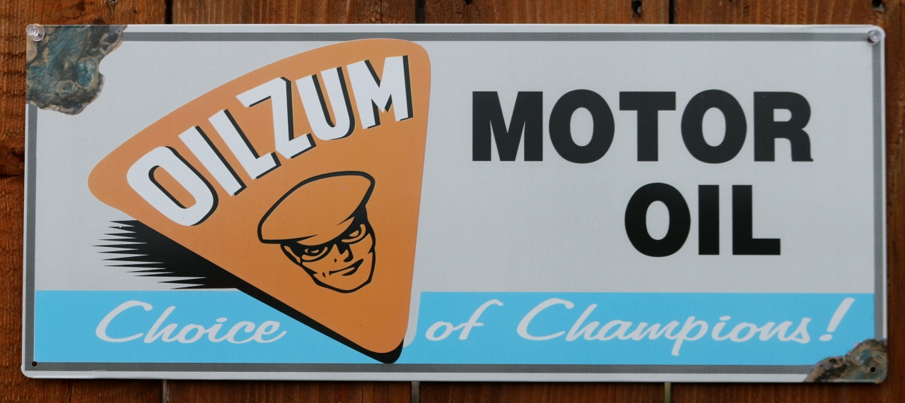 Oilzum Motor Oil Tin Metal Sign Racing Garage Mechanic Decor Vintage Style