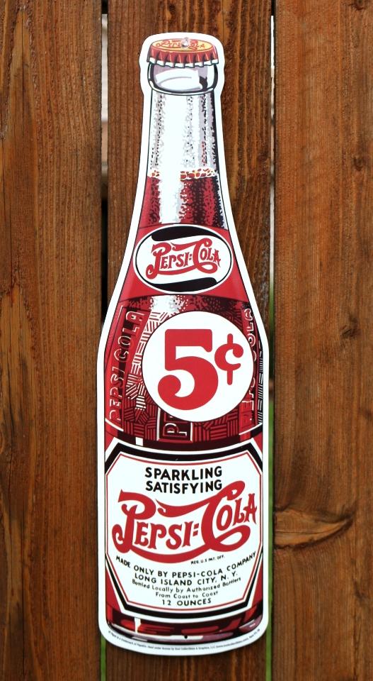Large Pepsi Cola Glass Bottle Tin Metal Sign Vintage Style Soda Pop Garage G42