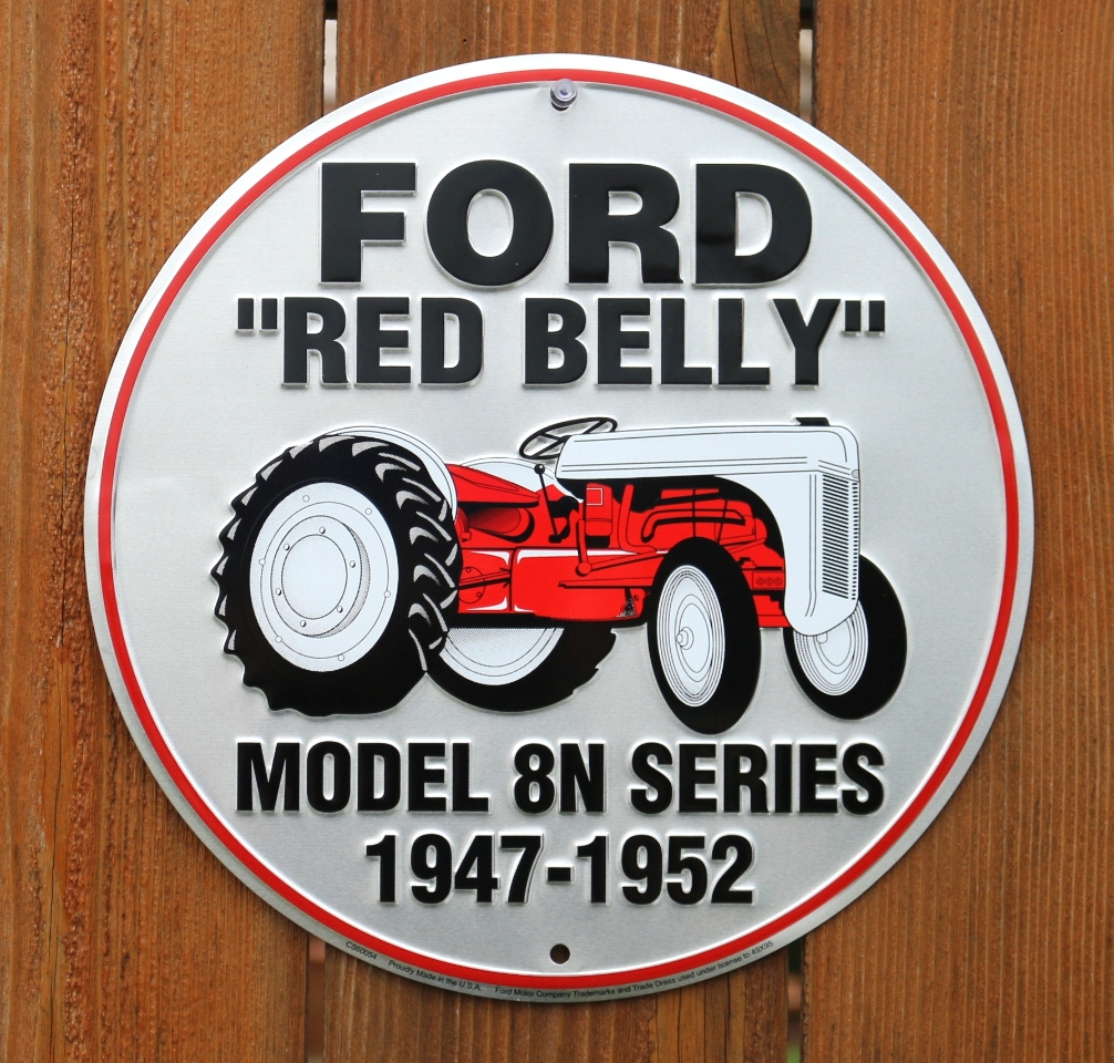 Ford Red Belly Tractor Model 8N Series Tin Round Sign Farm