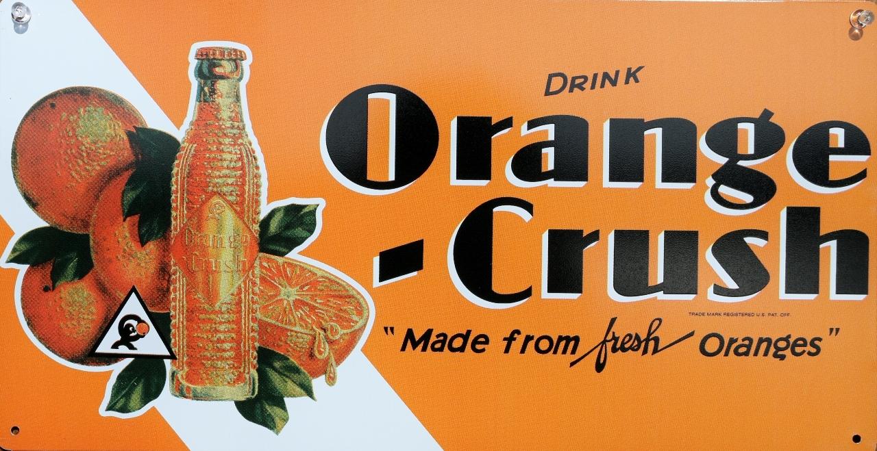 Drink orange crush tin metal sign soda pop cola kitchen for Garage ad agde