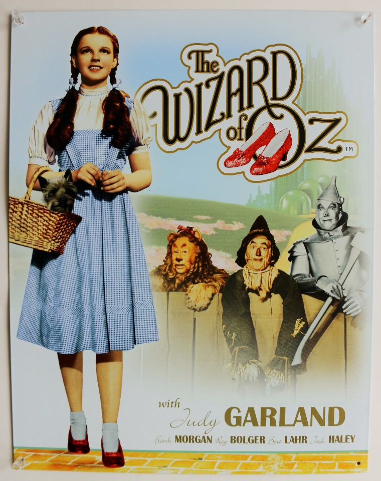 The Wizard of Oz With Judy Garland Tin Metal Sign Dorothy Home Movie ...