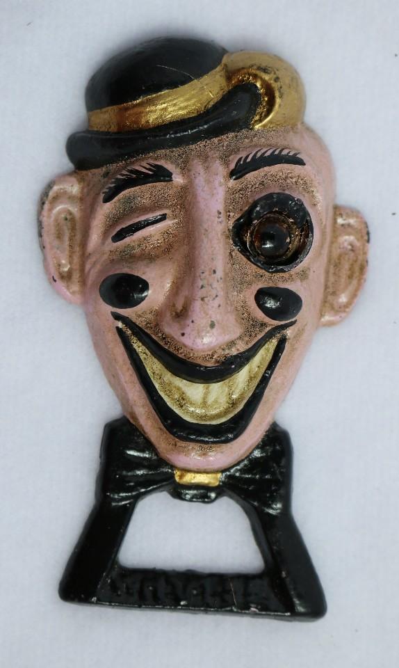 Retro Cast Iron Painted Winking Man Bottle Opener Unique Wham-ee Glass eye