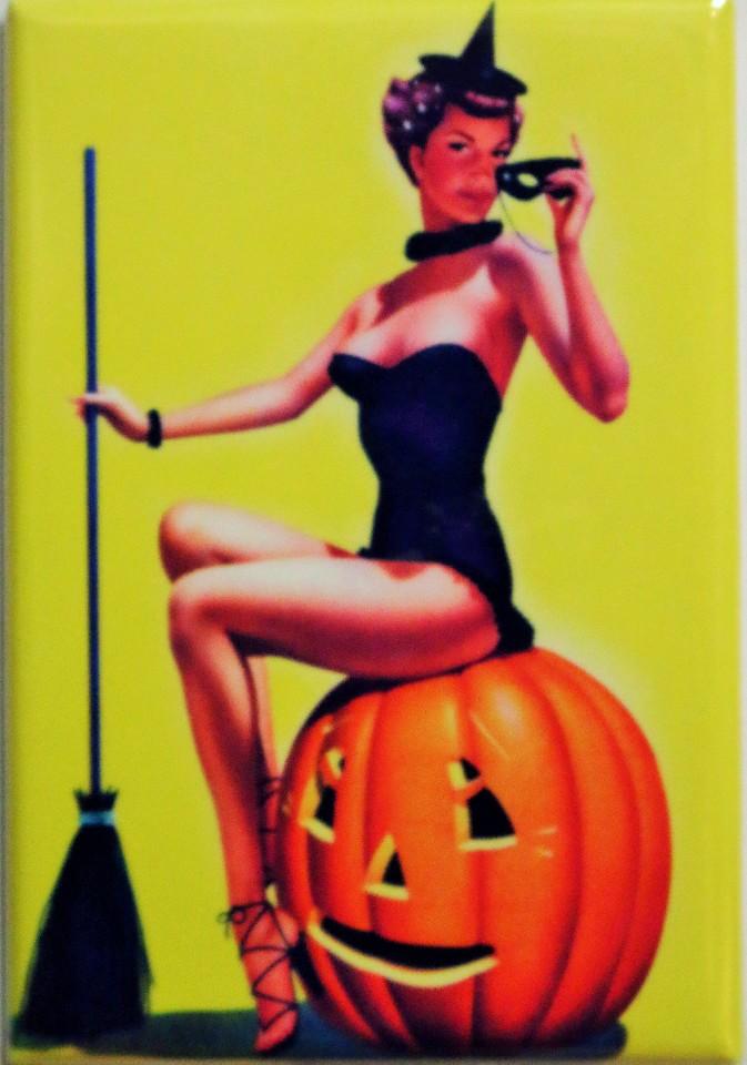Sexy Witch sitting on Pumpkin FRIDGE MAGNET Halloween Jack O Lantern J2