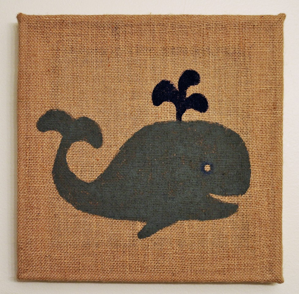 Hand Painted Happy Whale Burlap Painting Sea Nautical Baby Shower Children Kids Room Nursery Cute