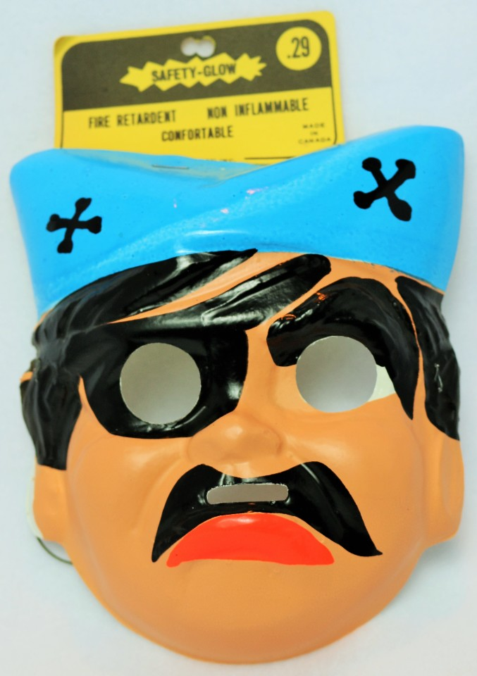 Vintage Pirate Halloween Mask Cartoon 1960's 1967 Medica Safety Glow Y099