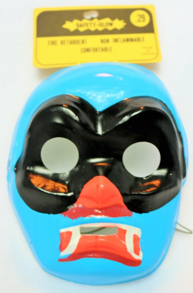 Vintage Blue Phantom Vampire Halloween Mask Masked Hero 1960's 1967 Medica Safety Glow