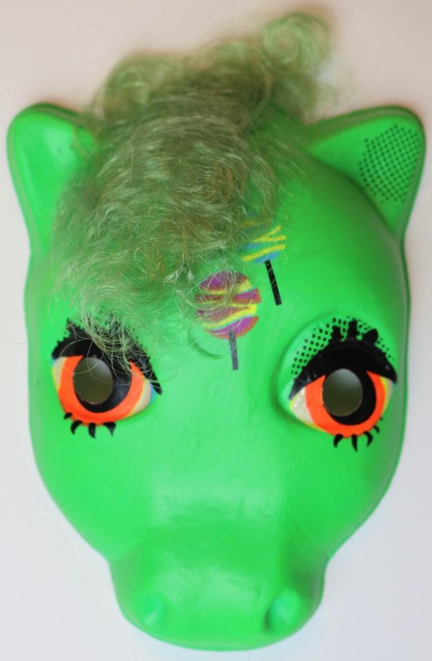 Vintage My Little Pony  Halloween Mask Green Plastic Brony Hasbro Bradley Rare Import
