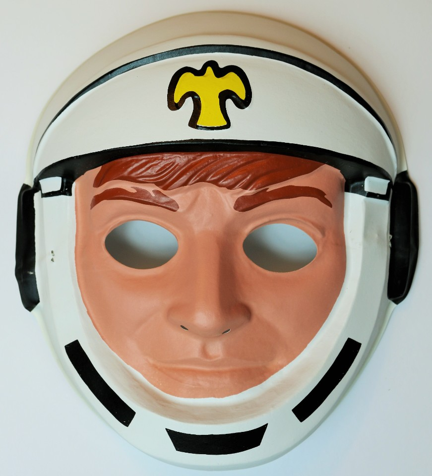 Vintage Astronaut Halloween Mask Creepy Plastic Space suit NASA 1980's 80's Y071