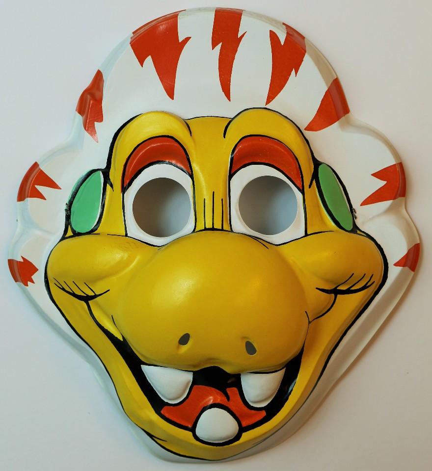 Vintage 1980's Dinosaur Halloween Mask 80's Cartoon Muppet Astronaut