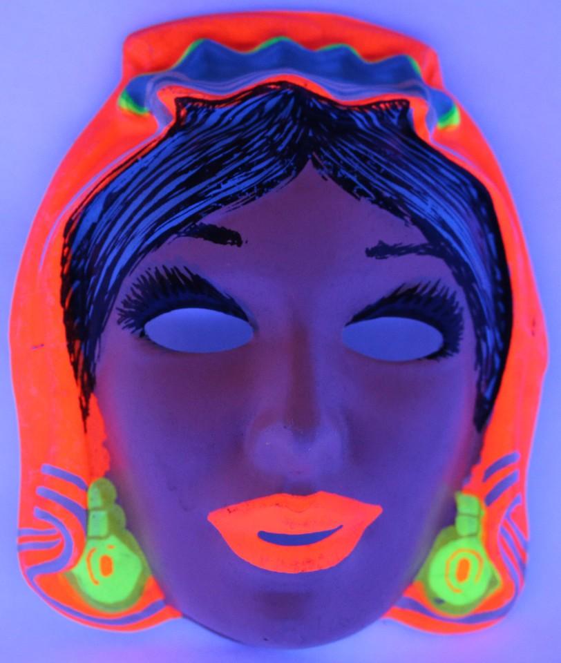 Vintage Gypsy Halloween Mask Zest Costume 1960u0027s 60u0027s Black Light Reactive & Details about Vintage Gypsy Halloween Mask Zest Costume 1960u0027s 60u0027s Black Light Reactive