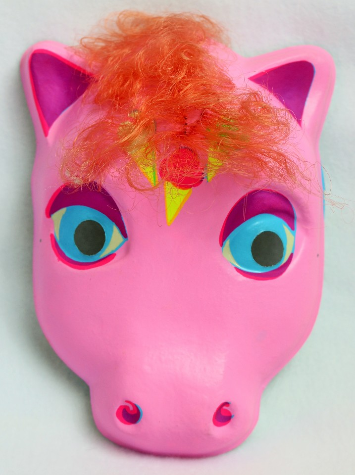 Vintage My Little Pony  Halloween Mask Pink Hair Ice Cream Plastic Brony Hasbro Bradley Rare Import