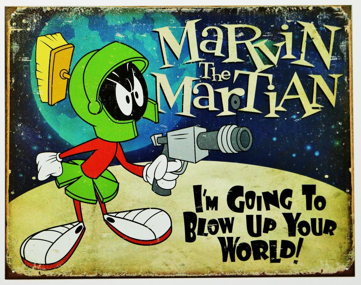 Marvin The Martian Tin Sign Looney Tunes Warner Bros Cartoon Comic D85