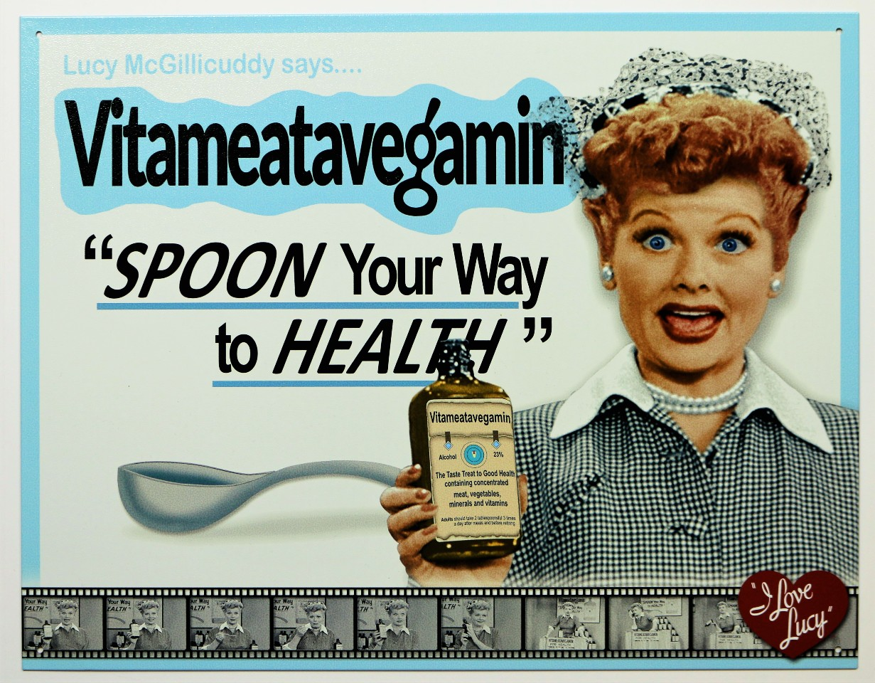 I Love Lucy Spoon Your Way To Health Tin Sign Lucille Ball Vitamins Kitchen Decor