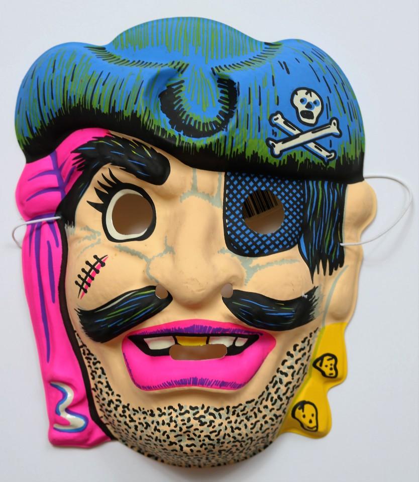 Vintage Pirate Halloween Mask Topstone Black Light Reactive 1980's 80's Y142