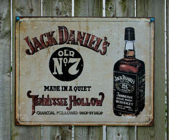 Jack Daniels Tennessee Whiskey NO 7 Tin Sign Garage Man Cave Alcohol Bar Pub