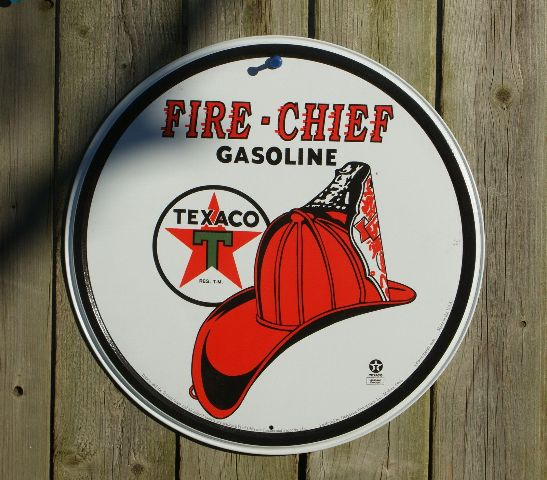Texaco Fire Chief Gas Tin Metal Round Sign Garage Man Cave