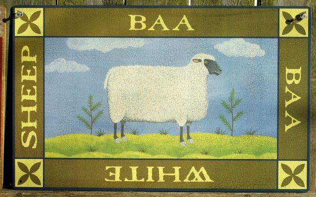 White Sheep Tin Metal Sign Country Kitchen Home Farm Green Gift Wool Fleece