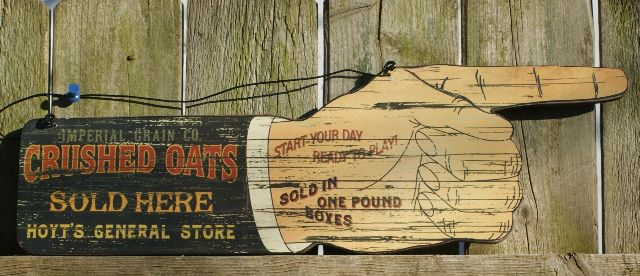 Crushed Oats General Store Wood Sign Country Kitchen Farm Vintage Style