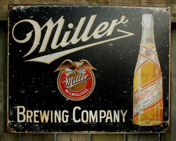 Miller Brewing Company Tin Sign Beer Bar Garage Man Cave Business Bottles E43