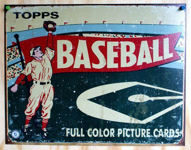 Topps Wax Pack Baseball Cards Tin Sign MLB Reds Yankees Tigers Angels Sox E112