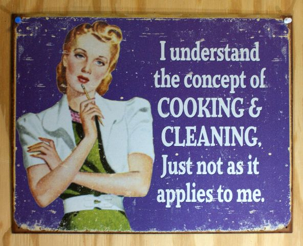 Cooking & Cleaning Does not Apply  Tin Sign 50's Humor Feminist Womans Rights