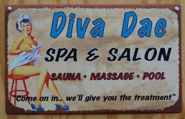Diva Dae Salon Laundry Bathroom Tin Metal Sign Pin Up Girl Sauna