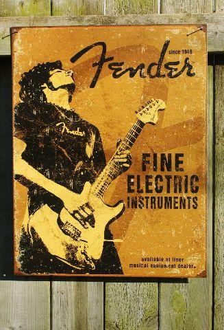 Fender Stratocaster Tin Sign Guitar Bass Music Man Cave Garage Band Studio F53