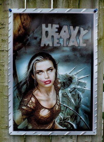Heavy Metal Magazine New York Statue of Liberty Tin Metal Sign Comic Pinup
