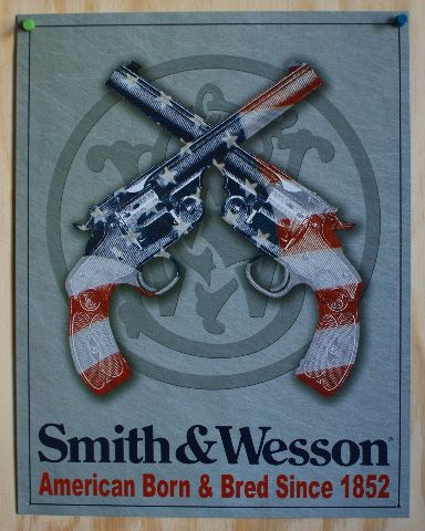Smith & Wesson Tin Sign Pistol Revolver Hand Gun American USA Flag Country