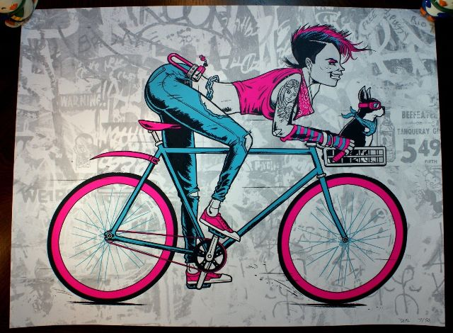 Share The Roadl Poster Print S/N Limited Edition of 50 Hipster Bike Bicycle Gear