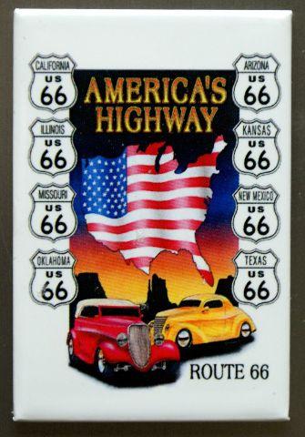 US Route 66 Americas Highway FRIDGE MAGNET Hot Rod Garage Mechanic Car Truck D9