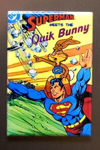 Superman Meets The Quik Bunny Refrigerator Fridge Magnet Nestle DC Comics  F3